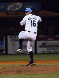 Stone Crabs ace pitcher Kevin Boggan winds up for a pitch.